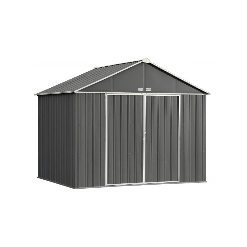 Arrow 10x8 Ezee Storage Shed Kit - Extra High Gable, 72 in Walls, Vents, Charcoal & Cream - (EZ10872HVCCCR)