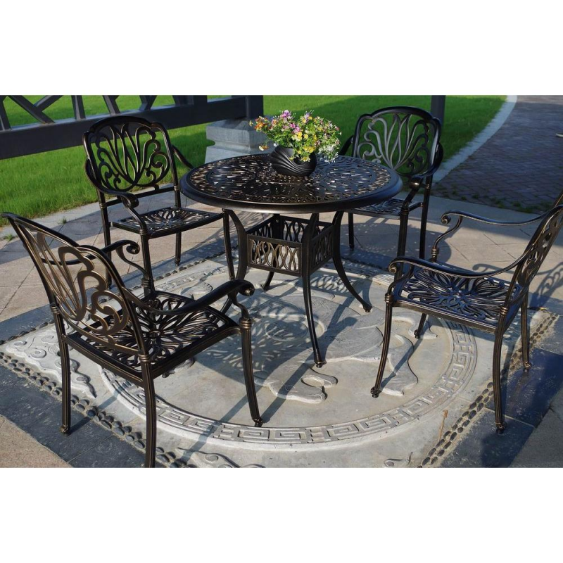 Royal Isle 5-Piece Dining Set - Golden Bronze Finish (NU2051GB)