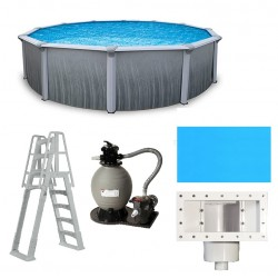 Martinique 27' Round 52-in Steel with 7-in Top Rail Pool Package (NB2615-PKG)