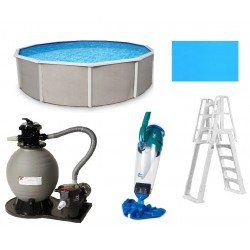 Belize 24' Round 52-inch Steel with 6-in Toprail Pool Package (NB2528-PKG)