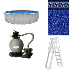"""Blue Wave St. Kitts 15' Round 54"""" Deep Above Ground Pool Package (NB19715-PKG)"""