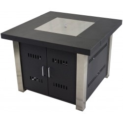 """Pleasant Hearth 38"""" Montreal Stainless Steel Gas Fire Pit Table - Matte Black (OFG901T)"""