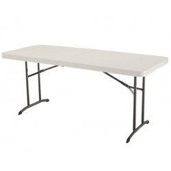 Lifetime 6 ft. Commercial Fold-In-Half Table with Handle (Almond) 80174