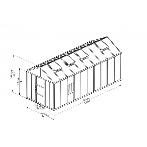 palram 8x20 glory greenhouse kit  hg5620