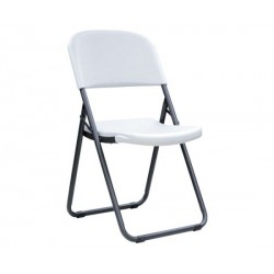 Lifetime Light Commercial Loop Leg Contoured Folding Chair 4 Pack (White) 80155
