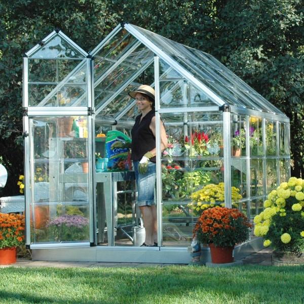Palram 6x8 Snap Amp Grow Hobby Greenhouse Kit Silver Hg6008