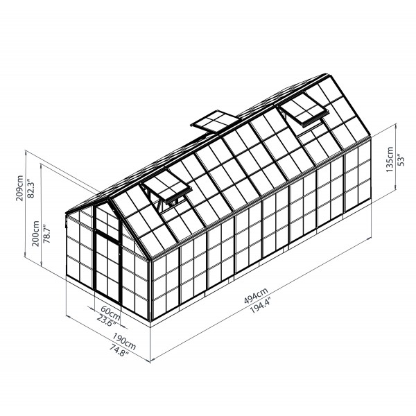 Palram 6x16 Snap Amp Grow Hobby Greenhouse Kit Silver Hg6016