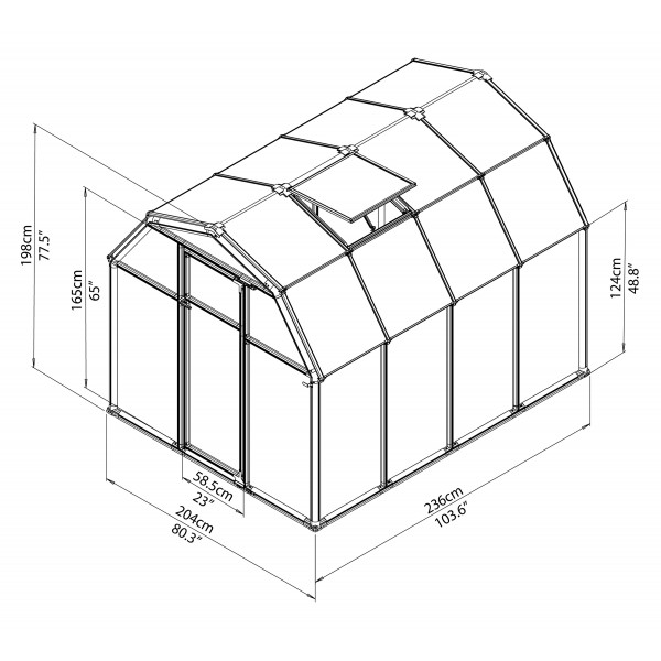 rion 6x8 ecogrow 2 twin wall greenhouse kit  hg7008