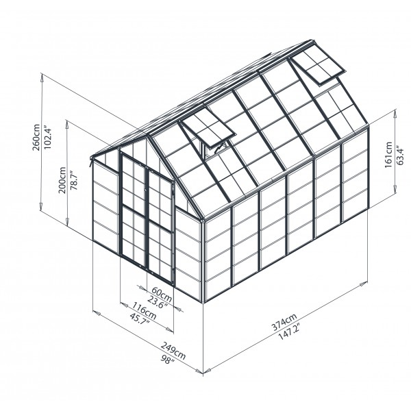palram 8x12 snap  u0026 grow hobby greenhouse kit
