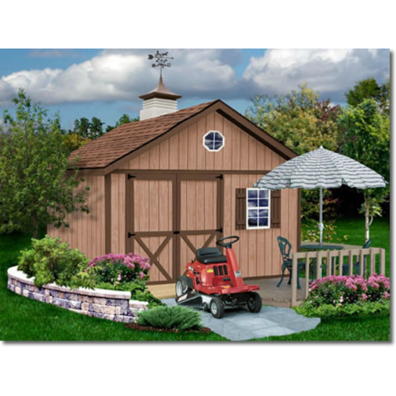 Brandon 12x12 Wood Storage Shed Kit - ALL Pre-Cut (brandon_1212)