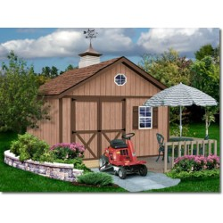 Brandon 12x16 Wood Storage Shed Kit - ALL Pre-Cut (brandon_1216)