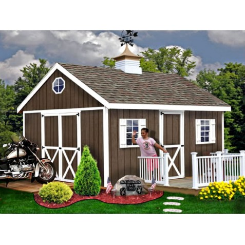 Easton 16x12 Wood Storage Shed Kit - ALL Pre-Cut (easton_1216)
