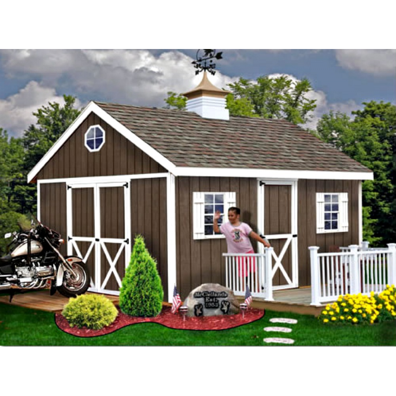 Easton 16x12 Wood Storage Shed Kit - ALL Pre-Cut (EN1612)