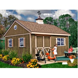 New Castle 16x12 Wood Storage Shed Kit - ALL Pre-Cut (newcastle_1612)