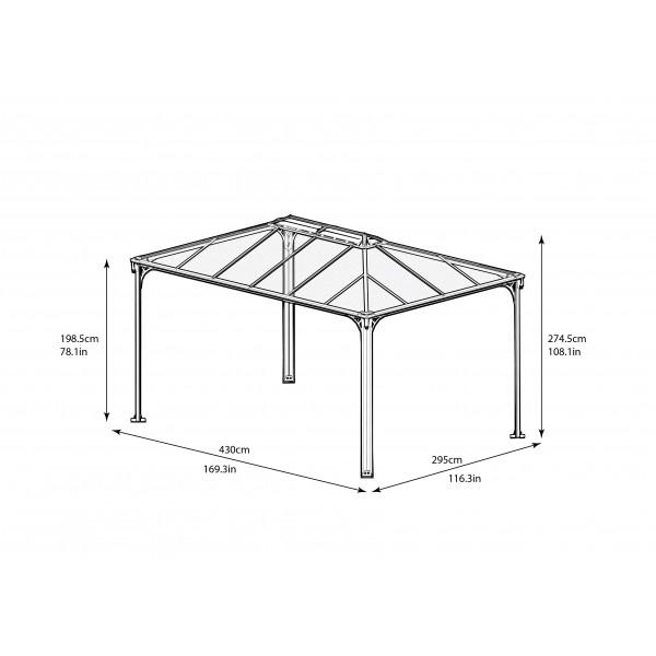 palram 10x14 martinique rectangle garden gazebo kit  hg9170
