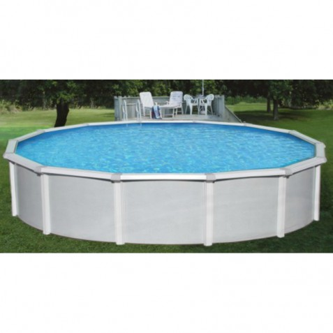 "Blue Wave Samoan 24' Round 52"" Deep Steel Pool Kit with 8"" Toprail (NB1644)"