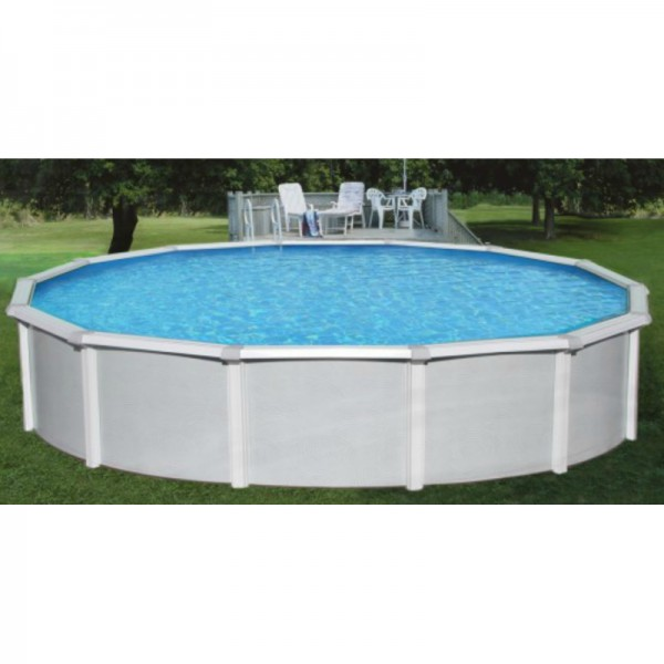 Blue wave samoan 24 39 round 52 deep steel pool kit with 8 for Deep above ground pools