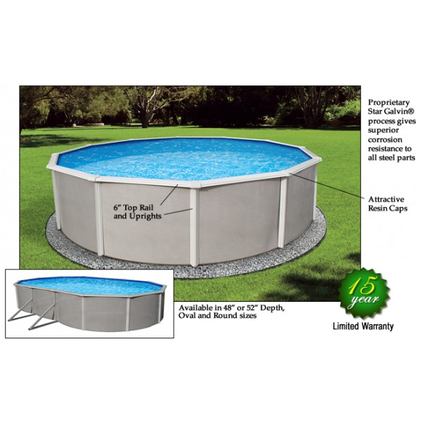 Blue wave belize 12 39 round 48 deep steel pool kit nb2501 for Deep above ground pools
