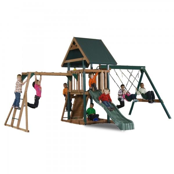 Handy Home Mongoose Manor Wood Swing Set Kit With Monkey Bars 4302