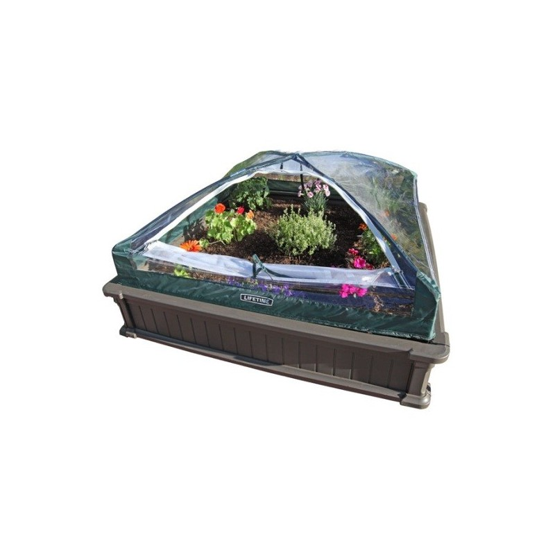 Lifetime Raised Garden Bed Kit 2 Beds -1 Vinyl Enclosure (60053)