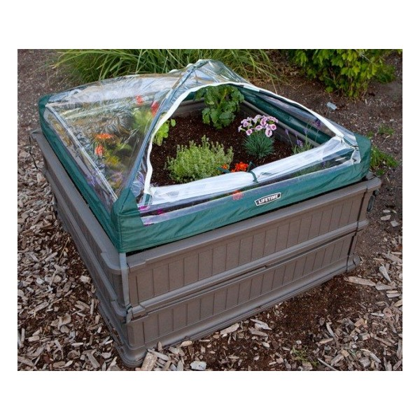 Lifetime Raised Garden Bed Kit 2 Beds 1 Vinyl Enclosure