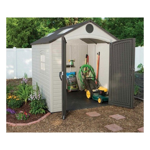 Lifetime 8x7 5 ft plastic outdoor storage shed kit 60015 for Garden shed electrical kit