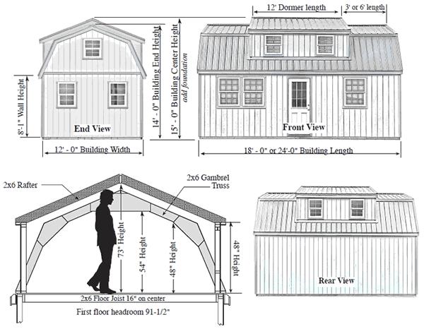 Best Barns Lakewood 12x24 Wood Storage Shed Kit Lakewood