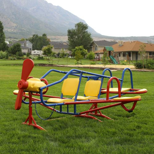 Lifetime Ace Flyer Airplane Teeter Totter - Primary Colors-151110 - Perfect outdoor entertainment for daycare homes, it is designed with a dozen activities to keep a yard full of kids happily entertained all day long.