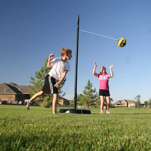 Lifetime Portable Tetherball Kit-Black Pole 90029-Perfect outdoor entertainment for daycare homes, it is designed with a dozen activities to keep a yard full of kids happily entertained all day long.