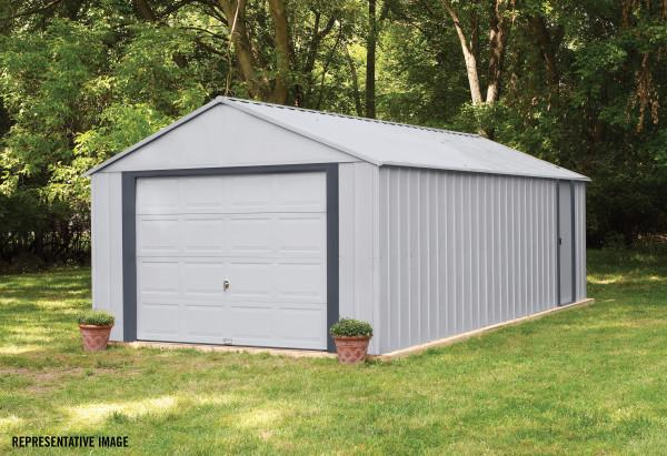 Arrow Vinyl Murryhill 14x31 Garage Steel Storage Shed Kit (BGR1431FG) This garage shed will give beauty to any outdoor setting.