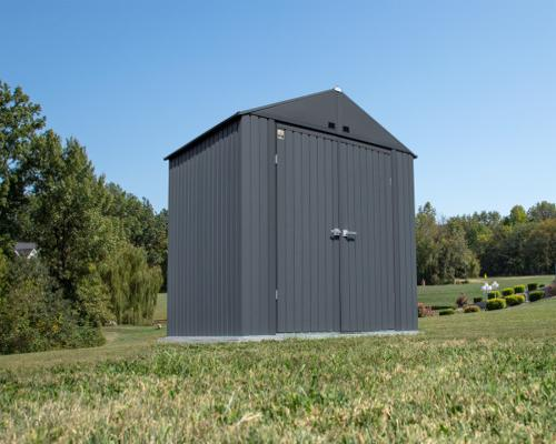 Arrow Elite 8x6 Metal Storage Shed Kit - Anthracite (EG86AN) This shed is an ideal addition to any outdoor setting.