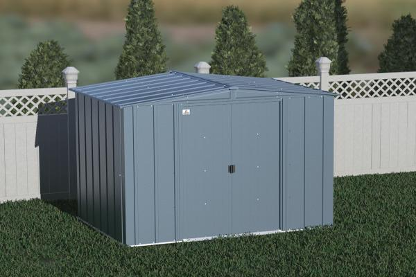 Arrow Classic 8x6 Steel Storage Shed Kit - Blue Grey (CLG86BG) This shed is an ideal addition to any backayrd setting.