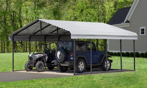 Arrow 20x20x7 Steel Auto Carport Kit - Eggshell (CPH202007) Ideal storage for your vehicle and cart.