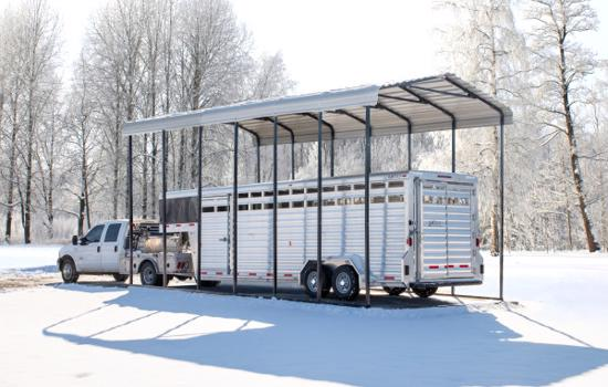 Arrow 14x51x14 Steel Auto Carport Kit - Eggshell (CPH145114) Protects your trailer from any inclement weather such as snow.