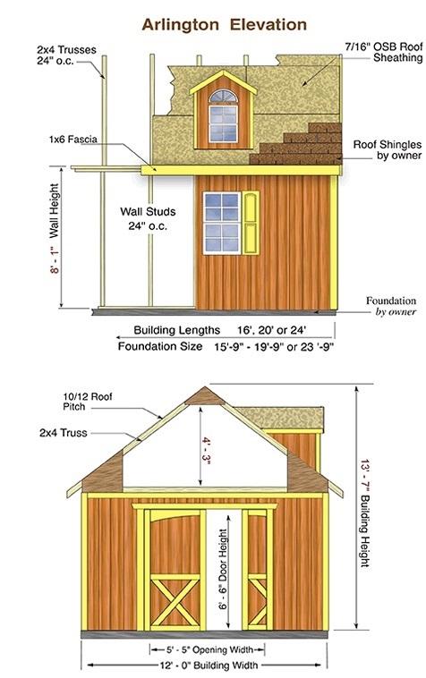 Best Barns Arlington 12x16 Wood Storage Shed Kit (arlington_1216) Shed Elevation