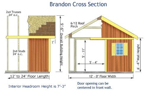 Best Barns 12x16 Wood Storage Shed Kit (brandon_1216) Shed Elevation