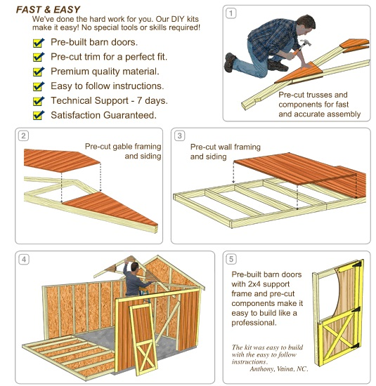 Best Barns Brookfield 16x12 Wood Storage Shed Kit (brookfield_1612) DIY Assembly No Skills Required