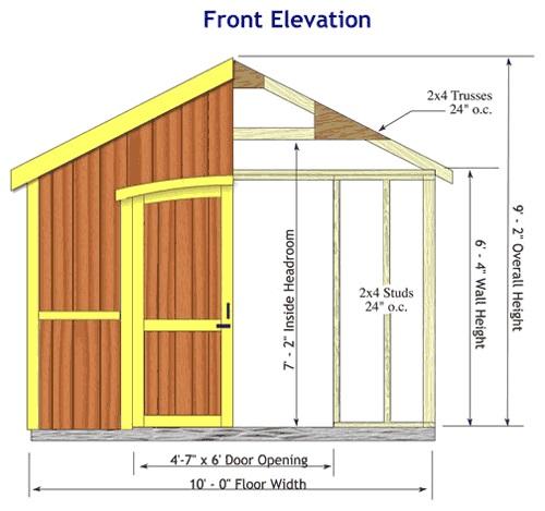 Best Barns Cambridge 10x12 Wood Storage Shed Kit (cambridge1012) Shed Elevation