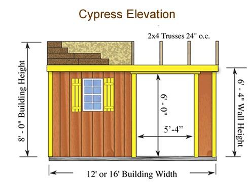 Best Barns Cypress 12x10 Wood Storage Shed Kit (cypress_1210) Shed Elevation