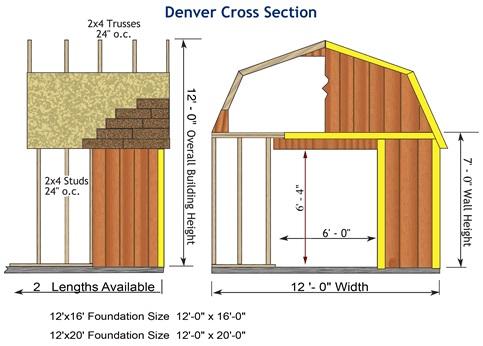 Best Barns Denver 12x16 Wood Storage Shed Kit (denver_1216) Shed Elevation