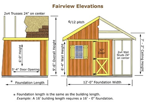 Best Barns Fairview 12x16 Wood Storage Shed Kit (fairview_1216) Shed Elevation