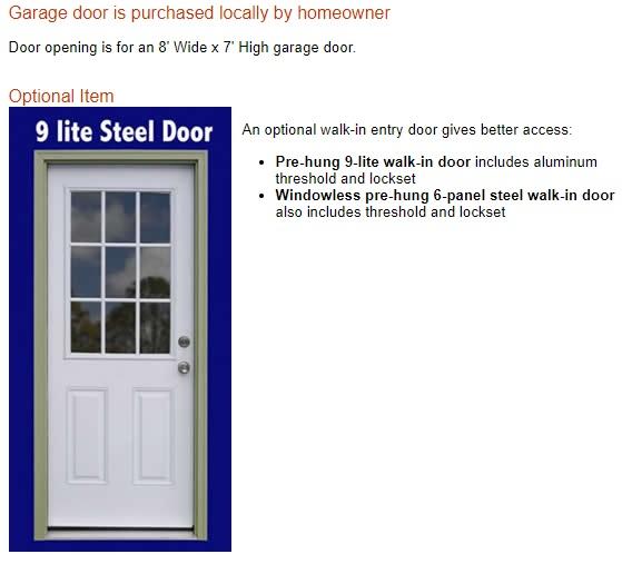 Best Barns Glenwood 12x16 Wood Storage Garage Kit (glenwood_1216) Optional Walk-In Door