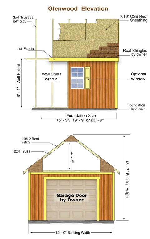 Best Barns Glenwood 12x16 Wood Storage Garage Kit (glenwood_1216) Shed Elevation