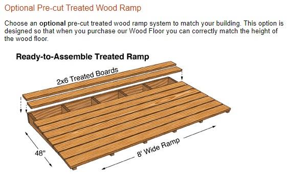 Best Barns Greenbriar 12x16 Wood Garage Shed Kit - All Pre-Cut (greenbriar_1216) Optional Wood Ramp