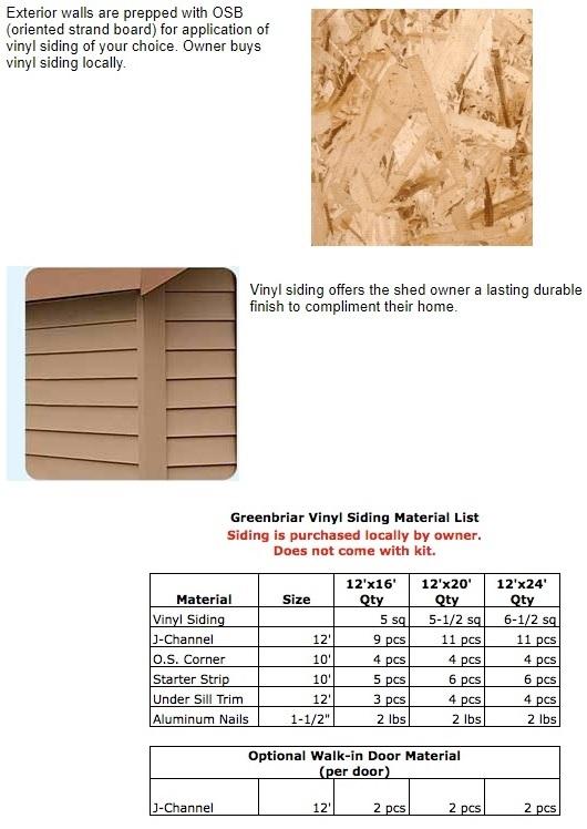 Best Barns Greenbriar 12x20 Wood Garage Shed Kit - All Pre-Cut (greenbriar_1220) Vinyl Siding and Material List