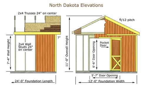 Best Barns North Dakota 12x20 Wood Storage Shed Kit (northdakota_1220) Shed Elevation