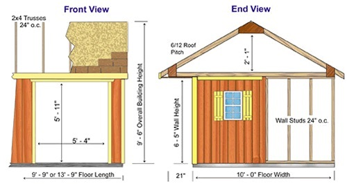 Best Barns Northwood 14x10 Wood Storage Shed Kit (northwood_1410) Shed Elevation