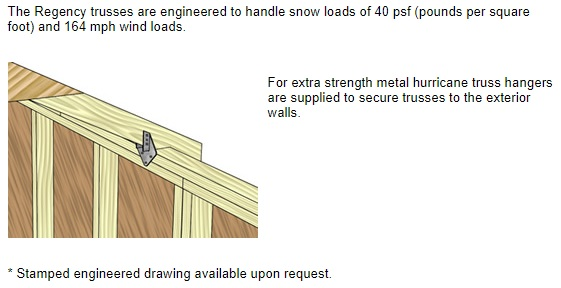 Best Barns Regency 8x12 Wood Storage Shed Kit (regency_812) Features of Trusses