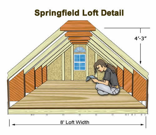 Best Barns Springfield 12x24 Wood Storage Shed Kit (springfield_1224) Second Floor Loft