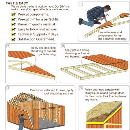 Best Barns Weston 12x16 Wood Garage Kit - All Pre-Cut (weston_1216) DIY Assembly No Skills Required
